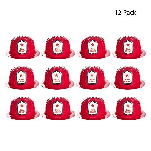 (Red Plastic Fire Helmets - 12)