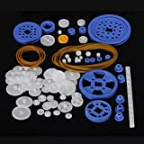 80 Pcs Plastic RC Parts Lot, Plastic Gears , Pulley, Belt, Rack Gear Kit Gearbox Motor Gear Set For DIY Car Robot