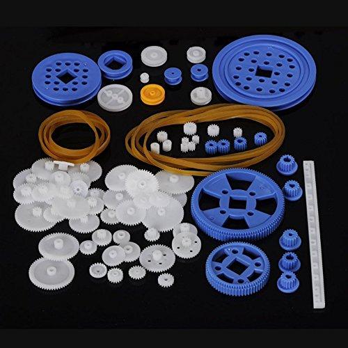80 Pcs Plastic RC Parts Lot, Plastic Gears, Pulley, Belt, Rack Gear Kit Gearbox Motor Gear Set For DIY Car ()