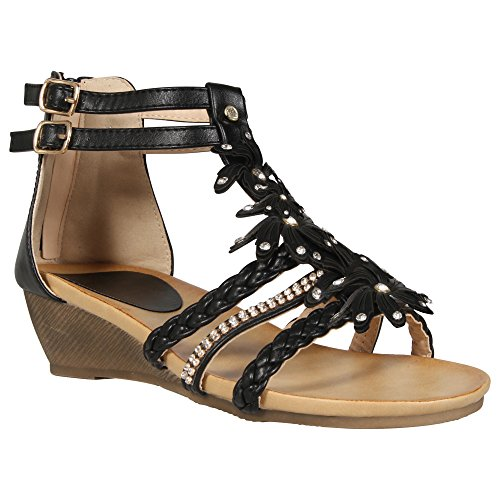 MyShoeStore LADIES WOMENS GLADIATOR SANDAL STRAPY WEDGE SUMMER FLOWER BEACH SANDALS LOW HEEL BACK ZIP SHOES SIZE 3-8 Black dkuSfrhb9