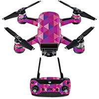 Skin for DJI Spark Mini Drone Combo - Pink Kaleidoscope| MightySkins Protective, Durable, and Unique Vinyl Decal wrap cover | Easy To Apply, Remove, and Change Styles | Made in the USA