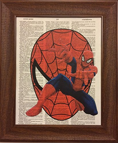 Spiderman Children's Nursery Dictionary Book Page Artwork Print Picture Poster Home Office Bedroom Nursery Kitchen Wall Decor - unframed