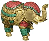 Aone India Thai Trunk up Elephant Figurine - Metal Brass Elephant with Turquoise Gemstones Handwork- Vintage Style Animal Collectible Home Decor Sculpture + Cash Envelope (Pack Of 10)