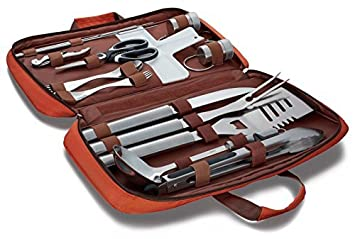 18 PC Grilling and Cooking Set for the outdoors barbeque – High Grade Stainless Steel Camping Cookware Grill Tool Set with Stylish carrying bag – Kitchen long heat resistant handle camping utensils