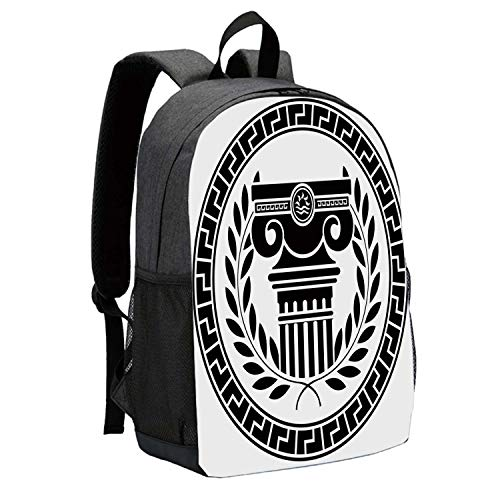 Toga Party Durable Backpack,Hellenic Column and Laurel Wreath Heraldic Symbol with Olive Branch Graphic Decorative for School Travel,12