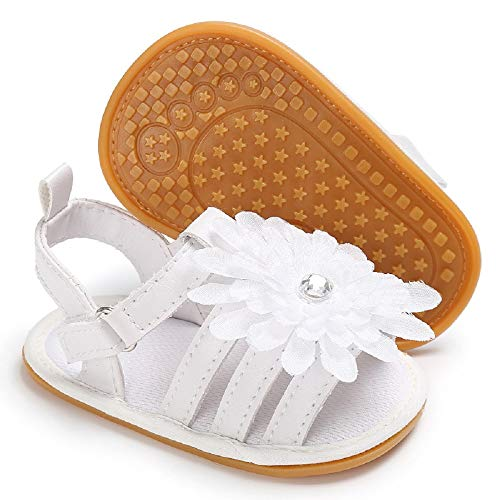 (Babelvit Baby Infant Girls PU Leather Soft Closed Toe Summer Sandals Flower Princess Flat First Walker Shoes (6-12 Months M US Infant, E-White))