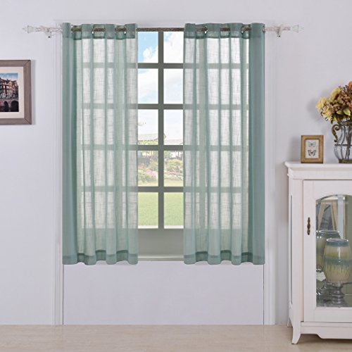 Two Panels Sheer Curtains, Faux Linen Solid Grommet Panel, Window Treatment Drapes For Bedroom (W52