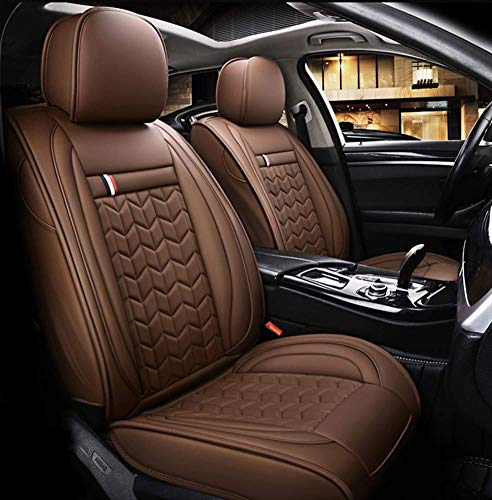 TUNBG Four Seasons Leather Seat Cover, Environmentally Friendly Wear-Resistant Waterproof Summer Seat Cover for Most Five-Seater Cars,Black,Brown