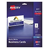 Avery 8371 Printable Microperf Business Cards, Inkjet, 2 x 3 1/2, White, Matte (Pack of 250)