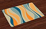 Ambesonne Vintage Place Mats Set of 4, Retro Vibrant Stripes Funky Lines Design Patterns Abstract Print, Washable Fabric Placemats for Dining Room Kitchen Table Decor, Marigold Petrol Blue Beige