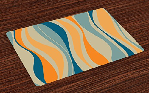 Ambesonne Vintage Place Mats Set of 4, Retro Vibrant Stripes Funky Lines Design Patterns Abstract Print, Washable Fabric Placemats for Dining Table, Standard Size, Marigold Blue