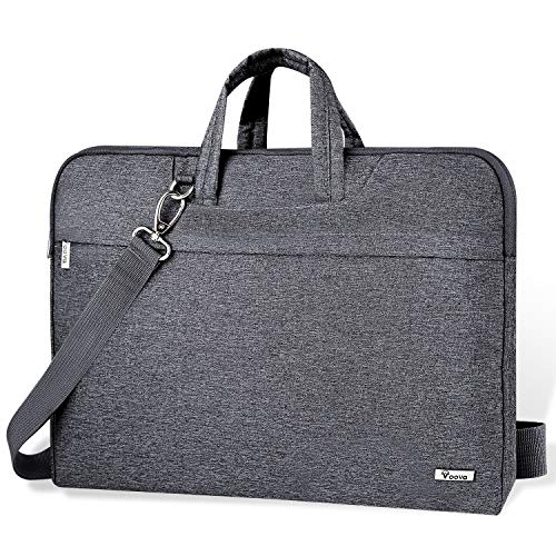 Voova Laptop Bag 17 17.3 inch Water-Resistant Laptop Sleeve Case with Shoulder Straps & Handle/Notebook Computer Case Briefcase Compatible with MacBook/Acer/Asus/Hp, Grey