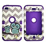 iPod Touch 4th Generation Case,Lantier 3 Layers Verge Hybrid Soft Silicone Hard Plastic TUFF Triple Impact Shockproof Quakeproof Defender Drop Resistance Protective Case Cover Wave Cheveron Owl Purple