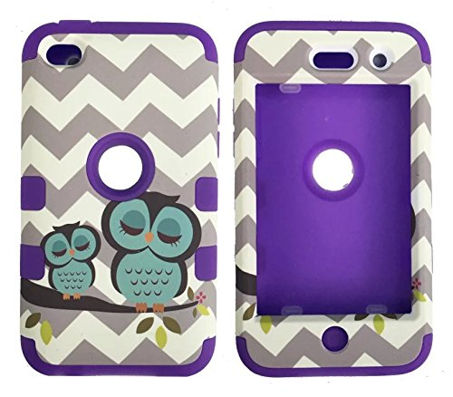 iPod Touch 4th Generation Case,Lantier 3 Layers Verge Hybrid Soft Silicone Hard Plastic TUFF Triple Impact Shockproof Quakeproof Defender Drop Resistance Protective Case Cover Wave Cheveron Owl Purple - 4 Generation Cases