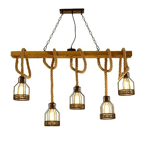Lámpara colgante Vintage Retro, lámpara colgante de madera ...