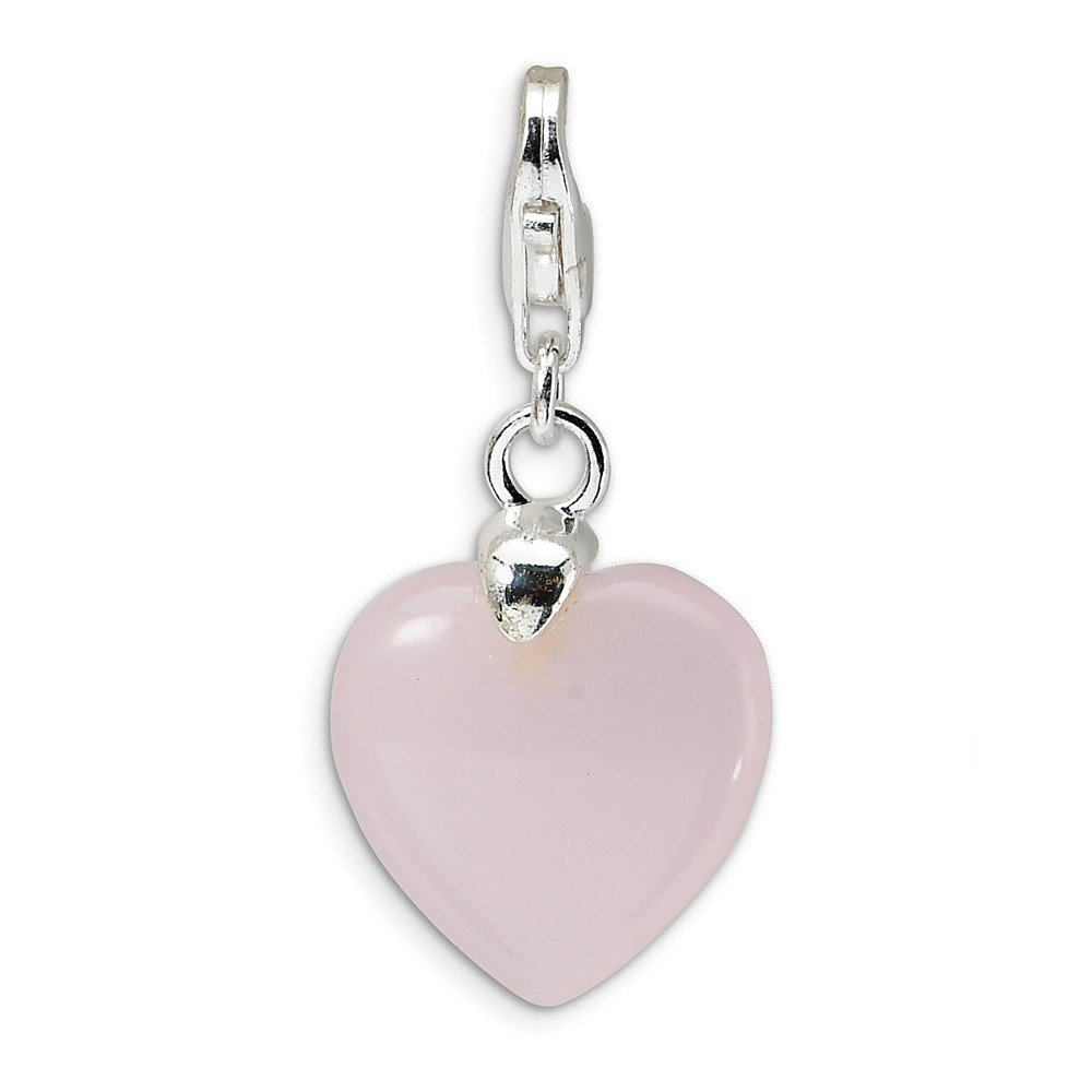 13mm x 37mm Jewel Tie 925 Sterling Silver Rose Simulated Quartz Heart with Lobster Clasp Pendant Charm