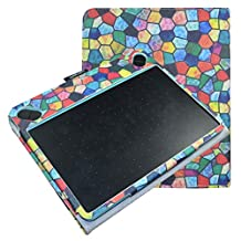 Mama Mouth Slim-Book Folio Carry PU Leather Cover for Wacom Intuos Medium Art CTH690AK CTH690AB / 3D CTH690TK / Comic CTH-690/K1 CTH-690/B1 Digital Drawing Tablet,Stained Glass