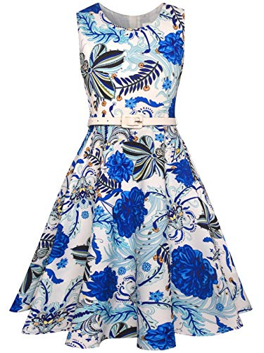 Bonny Billy Girls Classy Vintage Sleeveless Twirling Party Dress for Occasions 7-8 Years Blue