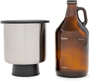 ESPRO Cold Brew Coffee Kit with Stainless Steel Bucket, 64 oz Growler, Brushed Stainless Steel