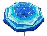Cloudnine Beach Umbrella With Tilt, Double Canopy,UV Protection, And Sand Anchor 80 Inch Arc
