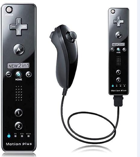 Controlador de Wii Integrado con Control Remoto Motion Plus y Nunchuck Compatible con Nintendo Wii/Wii U + Funda de Silicona (Negro): Amazon.es: Electrónica