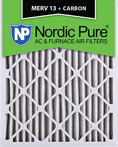 Nordic Pure 14x25x2M13+C-3 MERV 13 Plus Carbon AC Furnace Air Filters, Qty-3