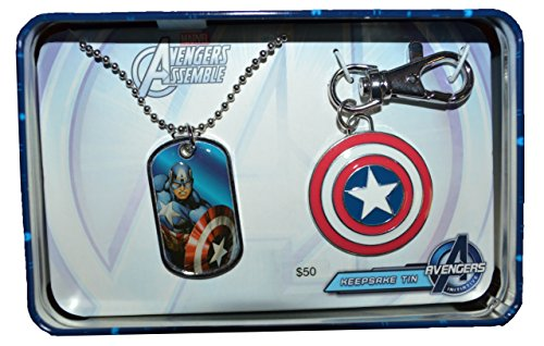 Captain America Dog Tag and Key Chain Avengers Gift Keepsake Tin Set