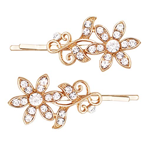 - Rosemarie Collections Women's Crystal Hair Clip Rhinestone Bobby Pins Hair Accessories Daisy Flower (Gold Tone)
