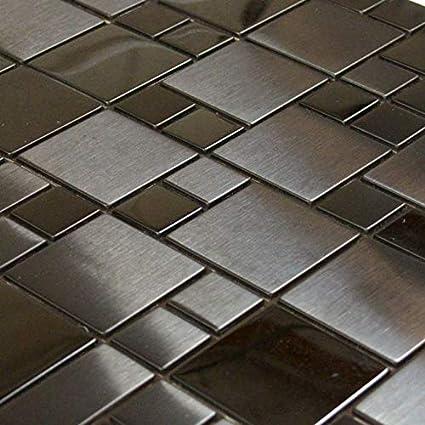 Amazon.com: Mosaico de acero inoxidable negro con diseño de ...