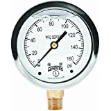"""Winters PFQ Series Stainless Steel 304 Single Scale Liquid Filled Pressure Gauge with Brass Internals, 0-160 psi, 2-1/2"""" Dial Display, +/-1.5% Accuracy, 1/4"""" NPT Bottom Mount"""