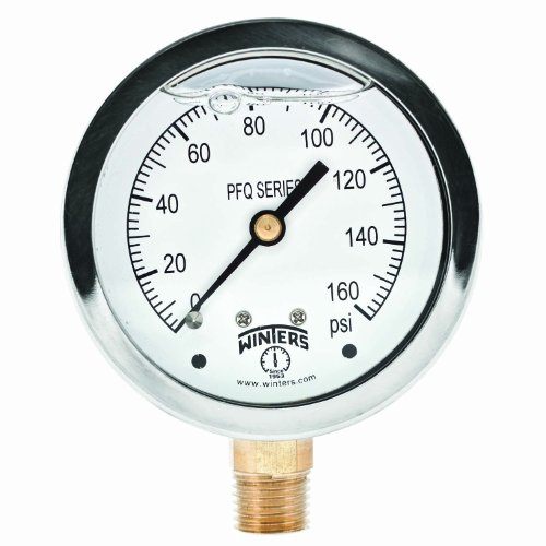 2.5 Inch Dial Gauge - Winters PFQ Series Stainless Steel 304 Single Scale Liquid Filled Pressure Gauge with Brass Internals, 0-160 psi, 2-1/2