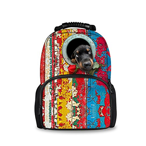 Casual for Backpacks Print Hiking College Bag Double Stylish Travelling Felt Laptop Polyester Trip Cute Weekend Students Bookbags Cat Dog zipped ThiKin Daypacks Casual Backpack dog3 Black School qtwHUvW