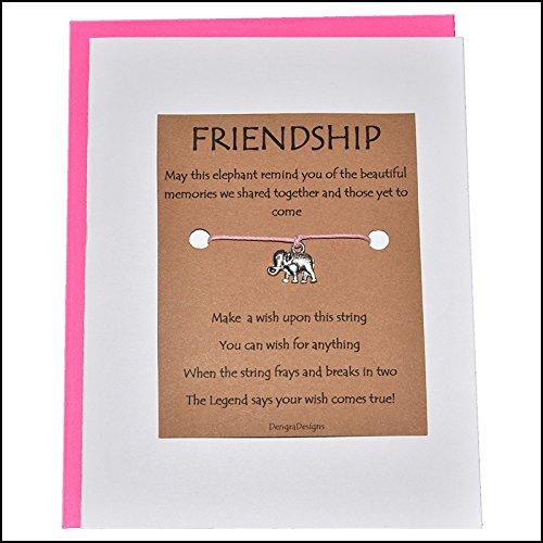 Charmed Greetings, Wish Bracelet, Friendship Elephant Charm, Thoughtful Card Wish Bracelet