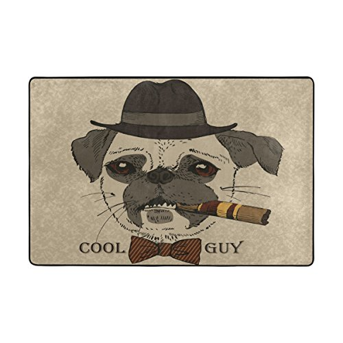 Guy Gangster (LAVOVO Portrait Of Pug Dog With Cigar Cool Guy Gangster Look Pattern Area Rug Rugs Non-Slip Floor Mat Doormats for Living Room Bedroom 36