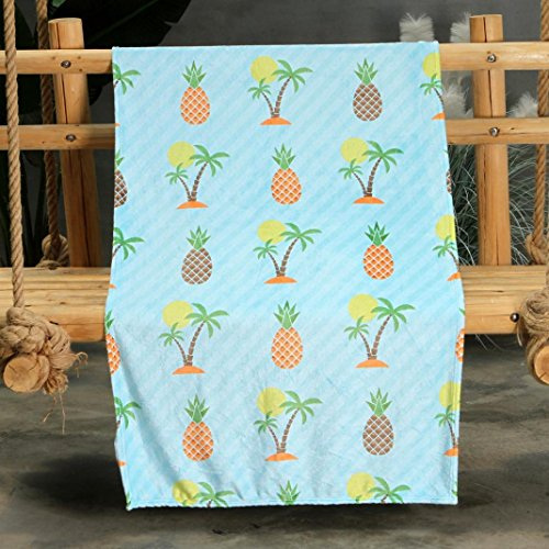 Hongxin Hot Sale Blankets Comfort Warmth Soft Cozy Air Conditioning Easy Care Machine Wash Watermelon Pineapple Kiwi Cartoon Pattern Air Conditioning Blanket Comfort Cover (80x150cm, E)