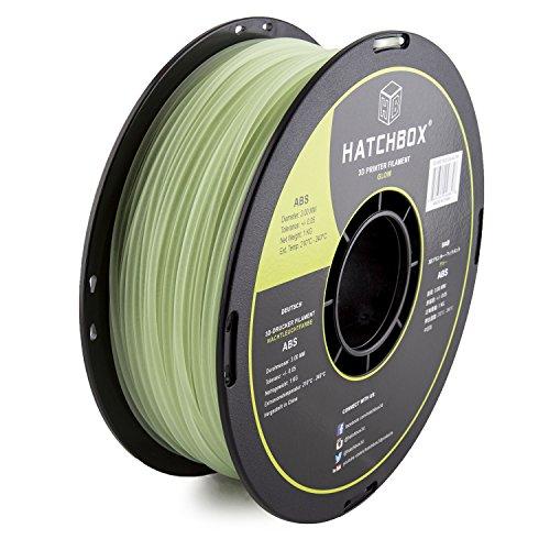 HATCHBOX 3D ABS-1KG3.00-GLOW ABS 3D Printer Filament, Dimensional Accuracy +/- 0.05 mm, 1 kg Spool, 3.00 mm, Glow in the Dark HATCHBOX Supplies