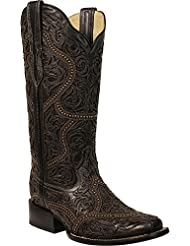 CORRAL Women's Full Overlay Studs Cowgirl Boot Square Toe Black 7.5 M