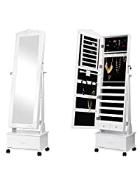 SortWise™ Lockable Floor Standing Wooden Jewelry Cosmetic Mirror Cabinet Chest Armoire Wardrobe Storage Organizer, with Large Drawer & Wheels, Easy Moving, White