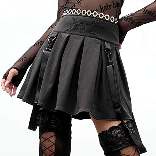 (Women's Short Skirt-Summer Flared Mini A-Line Skirts-Dark Embroidered Sling Dress (L, Black))
