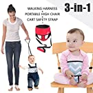 Umin 3-in-1 High Chair Belt,Toddler Safety Walking Harness Wrap,Shopping Cart Safety Strap,Red