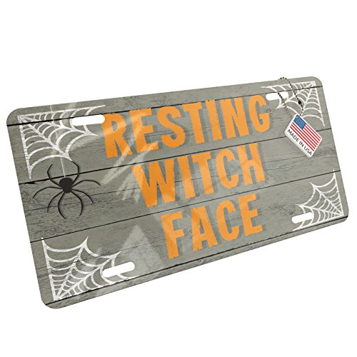 NEONBLOND Resting Witch Face Halloween Spider Webs Aluminum License Plate