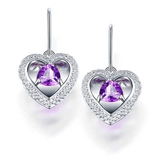 - HALOQUEEN Genuine 925 Sterling Silver Natural Purple Amethyst hearts Drop Earrings For Women Fine Jewelry