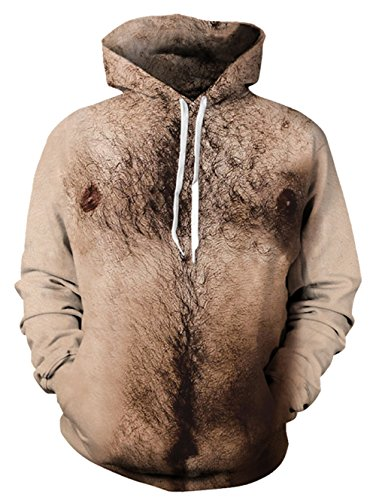 - 3D Hoodies, Mens Chest Hair Christmas Hoodie Pullover Funny Sweater With Fleece, Chest Hair, Medium