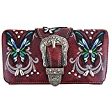 Western Buckle Butterfly Rhinestone Crossbody Wristlet Clutch Wallet Pack Purse (burgundy)