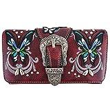 Western Buckle Butterfly Rhinestone Crossbody Wristlet Clutch Wallet Pack Purse (burgundy)