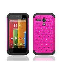 theMobileArea Motorola Moto G XT1032 Rhinestone Bling Diamond Hybrid Case Cover Skin + Screen Protector - Hot Pink