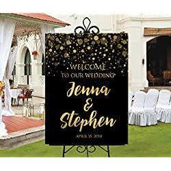 Dozili Wedding Welcome Sign Black Printable Gold Confetti Gold Lights Confetti Personalized Black Welcome Wedding Or Bridal Shower Sign