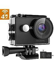 """TEC.BEAN 4K 16MP Action Cam, WiFi Ultra HD Action Camera, Fotocamera Subacquea Impermeabile 30M con Schermo LCD da 2"""", Obiettivo Grandangolare 170 ° / 2 Batterie Ricaricabili / 19 Accessori"""