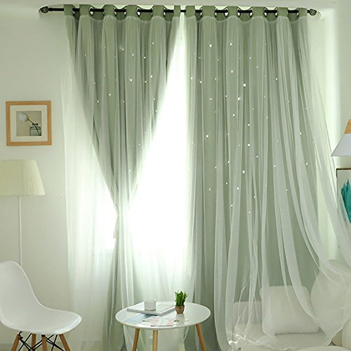 (NszzJixo9 Starry Sky Sheer Curtain Tulle Window Treatment Voile Drape Valance Double-Deck Smooth, Soft and Comfortable, Suitable for Home (Green) )