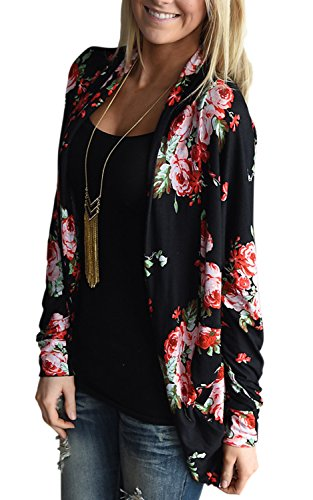 AMiERY Womens Kimono Cardigans for Women Floral Cardigan Blouse Comfy Boho Wrap Casual Cover up Tops Outwear (S, Black) by AMiERY